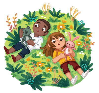 friends-girl-and-boy-stuffed-animals-outside-flowers-outdoors-grass-summer-africanamerican-boy-jpg