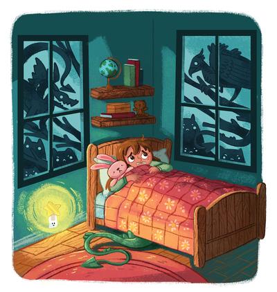 nighttime-bedroom-monsters-nightlight-kidsroom-house-windows-scared-kids-girl-stuffedanimal-jpg