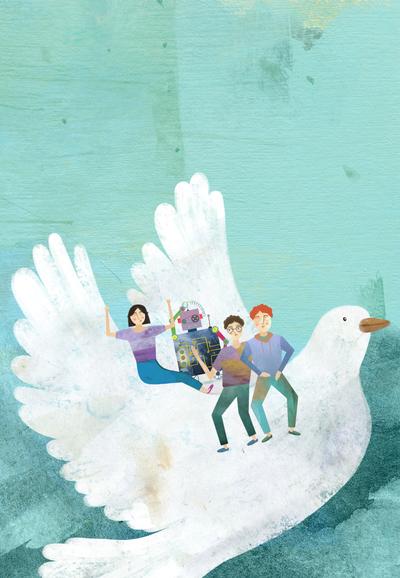 girl-boy-robot-pigeon-bird-jpg