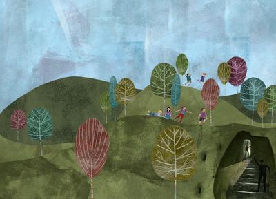 kids-mountains-landscape-trees-cave-jpg