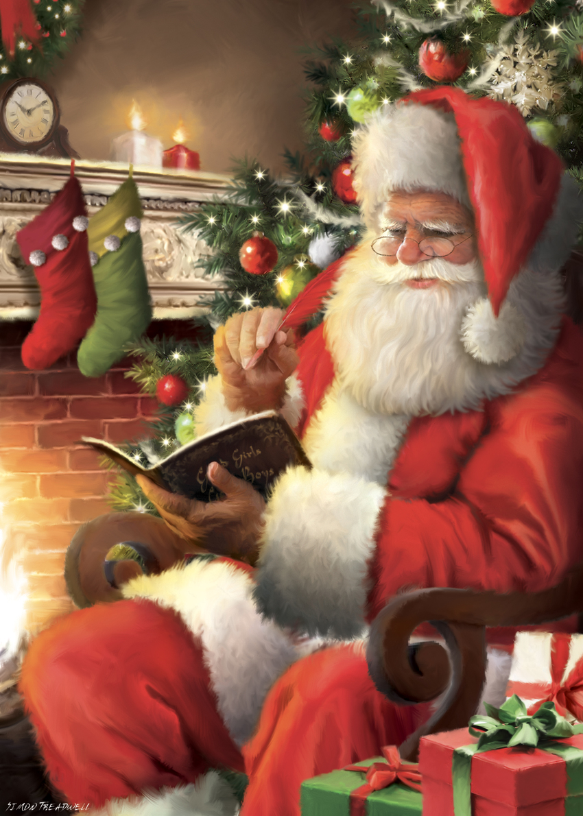ST851 - SANTA WITH BOOK NEAR FIREPLACE .jpg