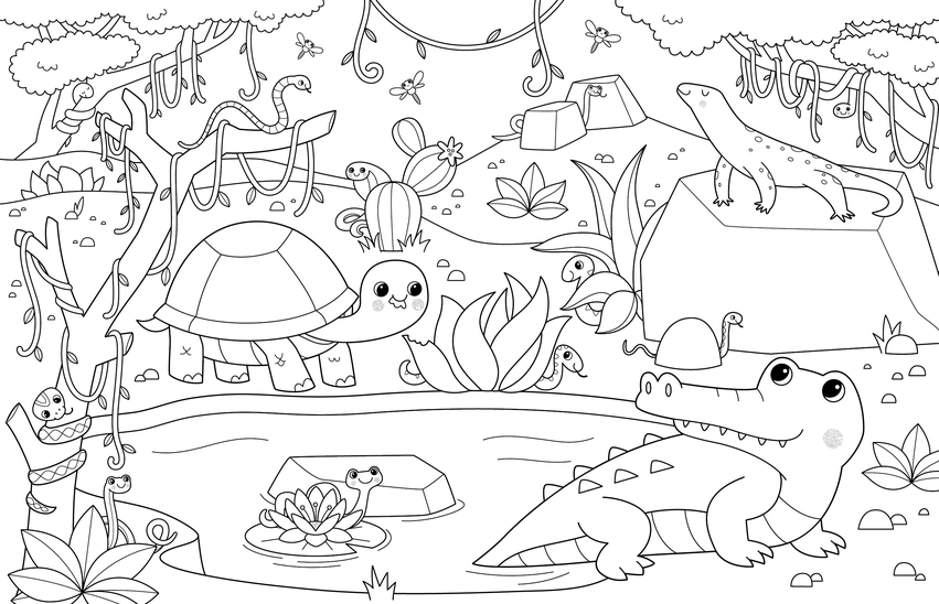 BK109788_lineart_coloring_reptiles_crocodile_tortoise_snake.jpg