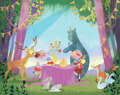 children-forest-animals-bear-fox-duck-rabbit-jpg