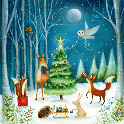 christmas-woodland-owl-fox-robin-deer-hare-hedgehog-moon-tree-jpg