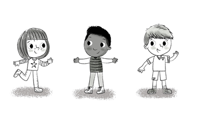 friends-kids-black-and-white-line-work-jpg