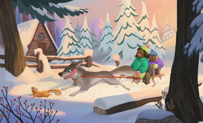 winter-vacation-sled-dog-chases-a-scared-squirrel-jpg