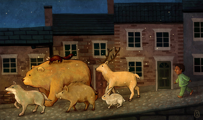 boy-street-animal-house-bear-deer-wolf-hare-boar-polecat-jpg
