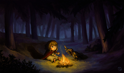 girl-fire-bird-forest-night-jpg