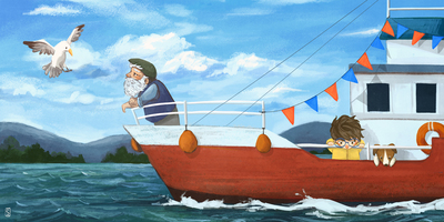 sea-sail-boat-boy-dog-blue-sky-jpg