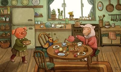 tea-party-pig-hen-sheep-jpg