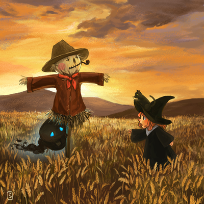 witch-cat-field-scarecrow-creature-dusk-autumn-png