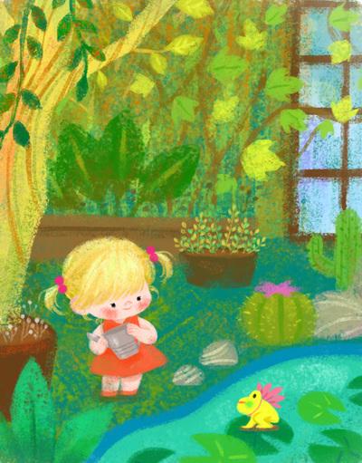 gardening-plants-girl-frog-jpg
