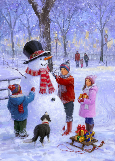85064-snowman-and-children-in-the-park-jpg