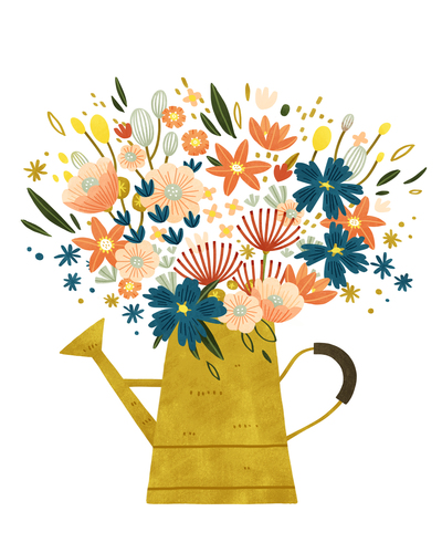 flowers-in-a-yellow-watering-can