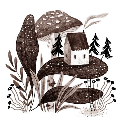 home-small-house-mushroom-flowers-plants-pines-jpg