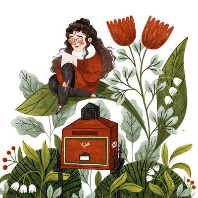 letter-plants-red-post-letter-girl-flowers-jpg