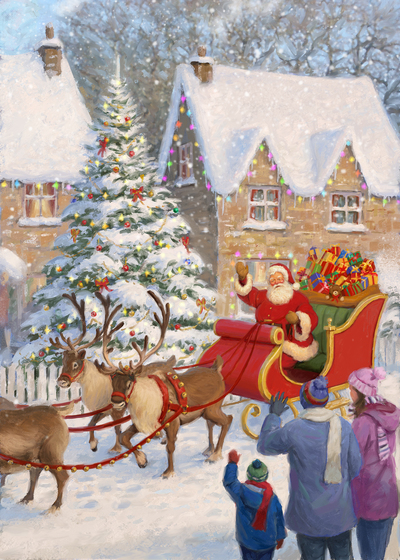 85073-santa-riding-sleigh-through-village-jpg