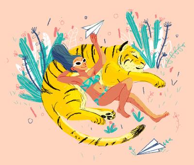 liliamiceli-tiger-girl-summer-nature-paper-airplane-jpg