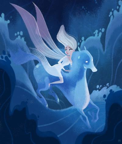 elsa-frozen-horse