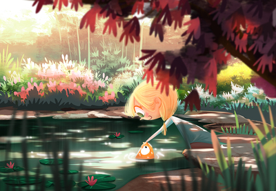 pond-fish-friends-girl-garden-jpg