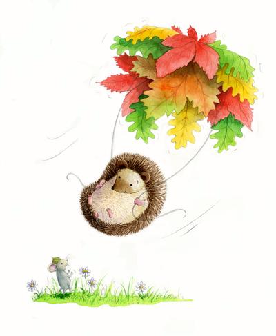 estelle-corke-hedgehog-mouse-parachute-autumn-leaves-jpg