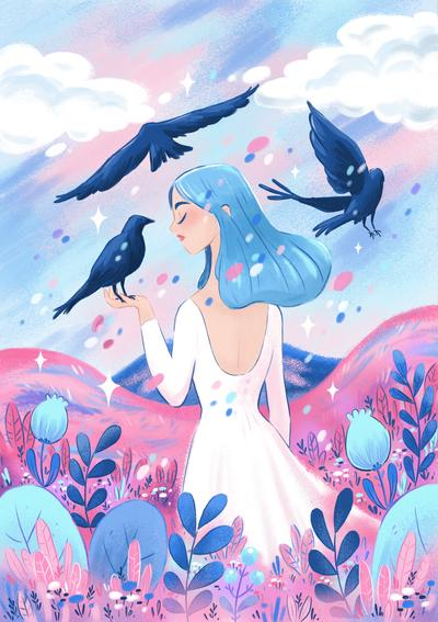 birds-crows-girl-landscape-plant-sky-jpg