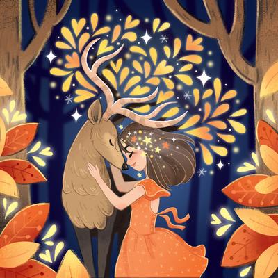 child-girl-deer-forest-stars-jpg