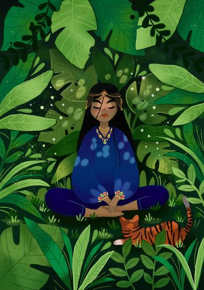 girl-jungle-tiger-plant-leaves-meditation-jpg