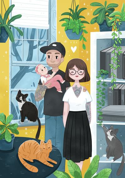 family-girl-boy-baby-cat-plant-house-portrait-jpg