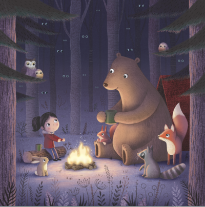 bear-and-freinds-campfire-at-night-png