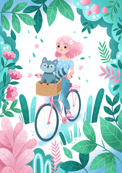 girl-raccoon-animal-friend-bike-plant-flowers-jpg