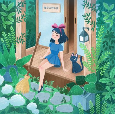 kiki-ghibli-witch-cat-plant-garden-outisde-jpg