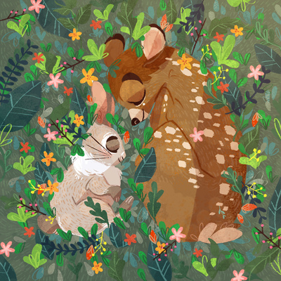bunny-bambi-flowers-forest-leaves-green-sleep-jpg