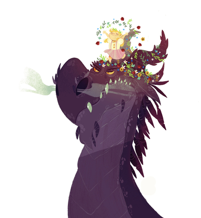 dragon-angry-girl-dancing-flowers-jpg