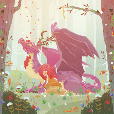 girl-dragon-flowers-plants-forest-magic-fantasy-jpg