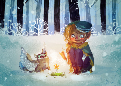 girl-elf-winter-forest-griffin-flowerlsnow-light-jpg
