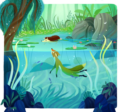 animal-characters-lake-tree-jpg