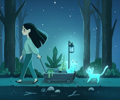 night-girl-light-cat-magic-witch-stars-forest-plants-dark-jpg