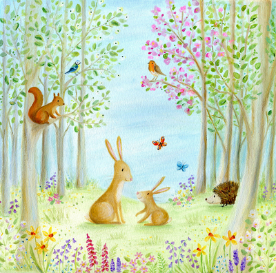 easter-rabbits-hedgehog-butterfly-bird-robin-squrriel-flowers-trees-jpg