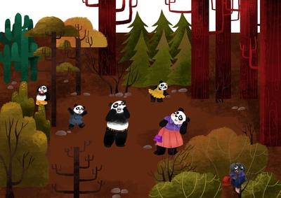panda-family-in-the-woods-jpg