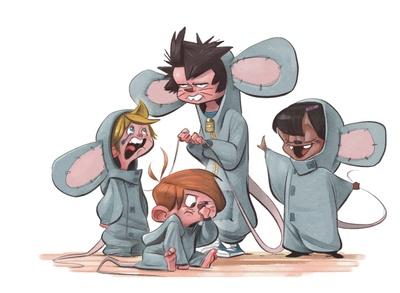 braden-hallett-babysitting-kindergarteners-children-boy-girl-costume-mouse-theatre-crying-nose-pick-sullen-colour-spot-illustration-jpg