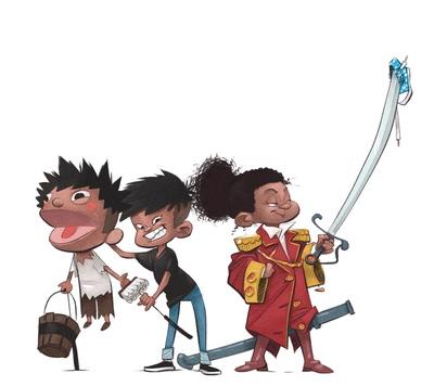braden-hallett-playing-dressup-puppet-boy-girl-sword-colour-spot-illustration-jpg