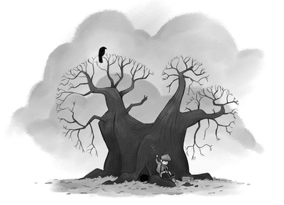 braden-hallett-burying-the-box-beneath-the-ancient-tree-tree-raven-boy-sad-dark-cloudy-shovel-greyscale-jpg