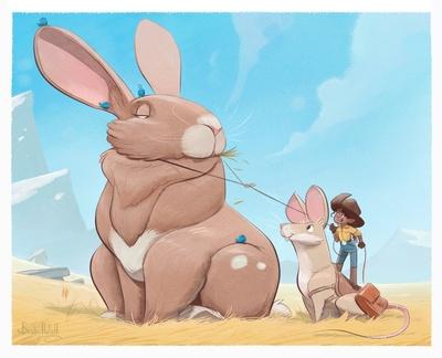 braden-hallett-caught-the-rabbit-western-sunny-summer-girl-rabbit-mouse-field-moutains-colour-jpg