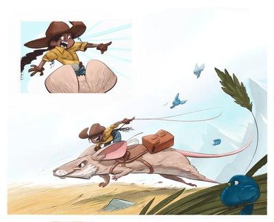 braden-hallett-chasing-the-rabbit-mouse-summer-field-bird-moutain-girl-western-colour-speed-jpg