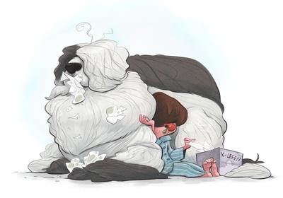 braden-hallett-sick-boy-dog-sniffles-boy-sheepdog-red-nose-snot-colour-spotillustration-jpg