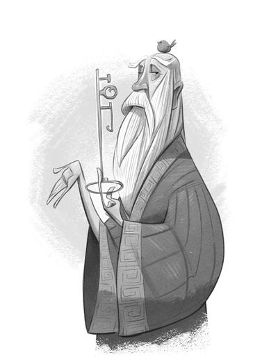 braden-hallett-the-old-man-and-the-key-wizard-old-key-man-robe-bird-spot-illustration-greyscale-jpg