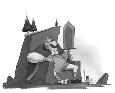 braden-hallett-the-mountain-king-giant-troll-boy-sheep-moutain-throne-stone-sword-crown-sherpherd-spot-illustration-greyscale-jpg