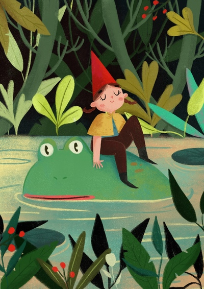 girl-frog-pond