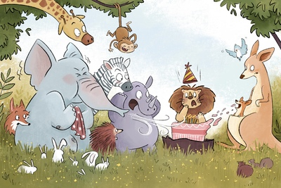 birtday-animals-jungle-forest-woods-elephant-giraffe-fox-monkey-zebra-rhino-lion-kangaroo-jpg